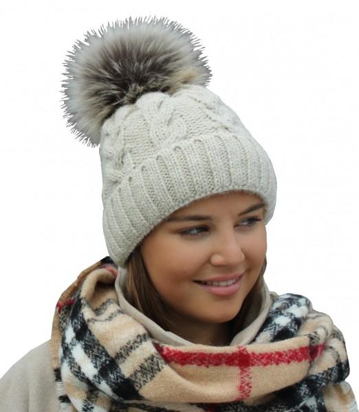 Damen Pudelmütze mit Kunstpelz Pompon